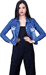 Style Souk Women's Regular Fit Jacket (Skj008, Blue, Large)