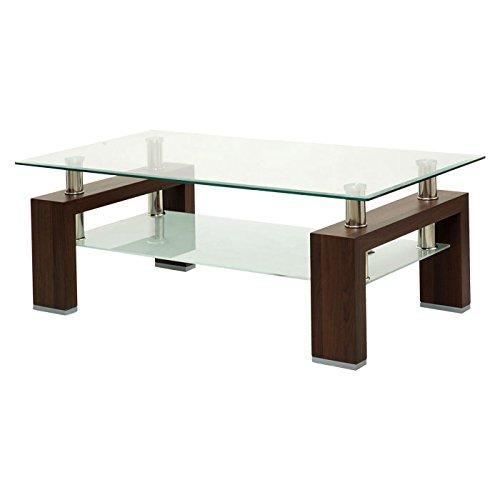 日本インテリア ぼん家具 ガラス製 木製脚 センター ローテーブル 奥行70 ダークブラウン