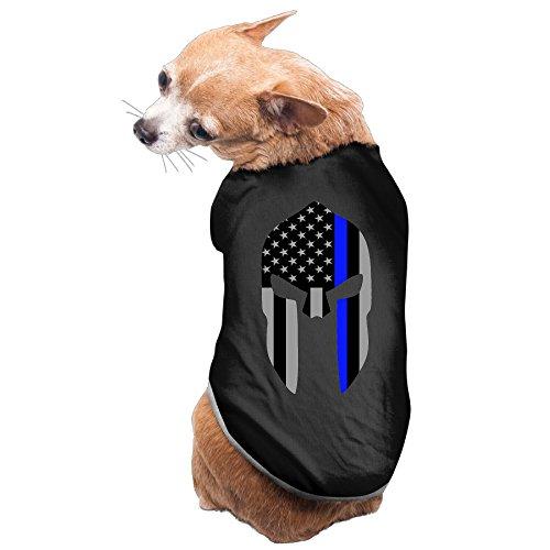 Fashion Spartan Helmet Thin Blue Line Subdued U.S. Flag Pet Dog 100% Fleece Vest Tank Top Black US Size M