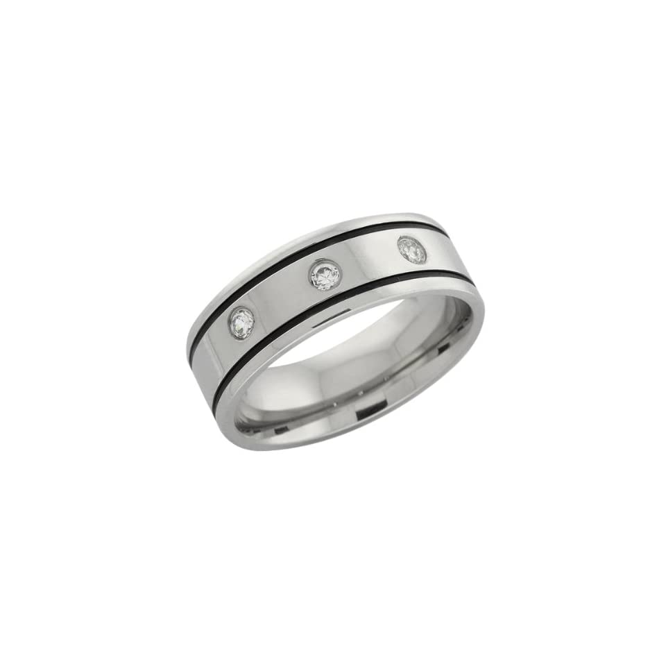 Mens Stainless Steel Black Accented Band Ring W/ CZ