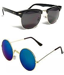Shara UV Protected Club Master and Round Gandhi unisex sunglasses set of 2 combo pack ( Black & Blue Mercury lens)