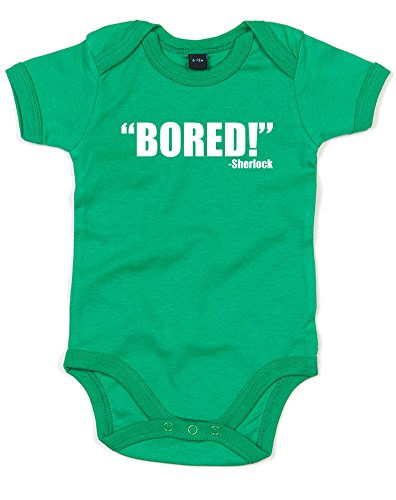 """Bored!"" - Sherlock, Printed Baby Grow - Kelly Green/White ..."