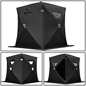 Black Folding Ice Fishing Shelter Tent 2 3 4 Person Man Portable Shanty House