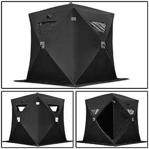 Black Folding Ice Fishing Shelter Tent 2 3 4 Person Man Portable Shanty House