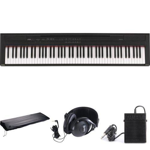 Yamaha P105B 88-Key Digital Piano Bundle With Sustain Pedal, Yamaha Headphones, And Dust Cover