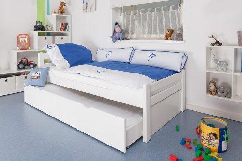 """Lit pour enfants/ ados """"Easy Sleep"""" K1/2h avec 2emeplace de couchage et 2 panneaux de masquage, 90 x 200 cm hêtre massif laqué en blanc"""