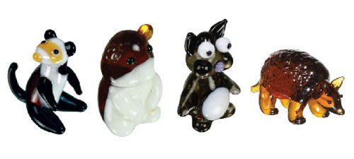 Looking Glass Miniature Collectible - Ferret / Hamster / Chinchilla / Armadillo (4-Pack)