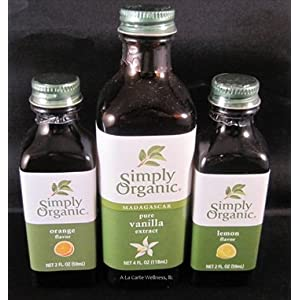 Organic Vanilla Extract & Orange, Lemon Flavors Bundle