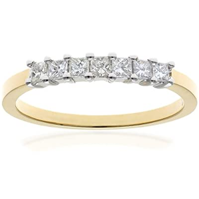 Ariel 18ct Yellow Gold Eternity Ring, J/I Certified Diamonds, Princess Cut
