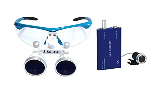 Dental Power 3.5x420mm Dental Loupes Surgical Binocular Loupe Magnifier Blue Head Light (Resin Prime Dental compare prices)