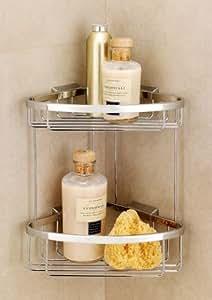 Coram G183-697 Chrome Accessory Shower Double Corner Basket, Bathroom