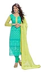 Fashion Bazaar Women's Georgette Unstitched Salwar Suit (Green)