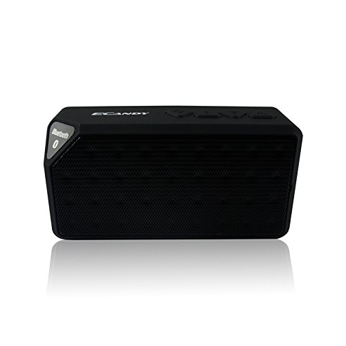 Ecandy Bluetooth Speaker,6 Hours of Playing Time - Built-in Mic for Hands Free Speakerphone Rechargeable Wireless Speaker,AUX Line in & TF Card Slot,Compatible with Iphone, Ipod , Ipad Mini, Ipad Air 4/3/2, Itouch, Blackberry, Nexus, Samsung, Other Smart lycheers waterproof wireless fm radio bluetooth mini shower stereo speaker with hook handle and hands free speakerphone