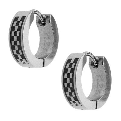 Men's Checkerboard Hoop Earrings