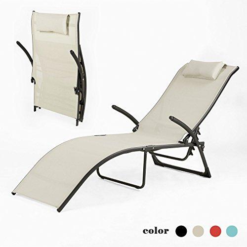 SoBuy® lettino prendisole, sdraia da spiaggia relax colore: beige, OGS22-MI.IT