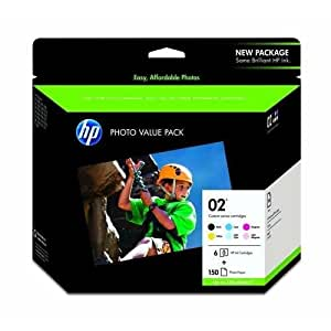 """Hewlett Packard HP 02 Photo Value Pack (Includes 1 Each of C8721WN, C8771WN, C8772WN, C8773WN, C8774WN, C8775WN & 150 Sheets of 4"""" x 6"""" HP Advanced Photo Paper, Glossy), Part Number Q7964AN"""
