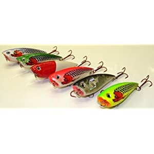 6 Topwater Poppers Crankbaits - Fishing Lures Set T6I