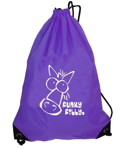 FunkyFilly® Drawstring Gymsac and Grooming Kit Bag 'Silver Horse Head' Purple