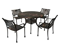 Big Sale Best Selling  Sebastian Cast Aluminum Dining Set, Antique Copper Finish