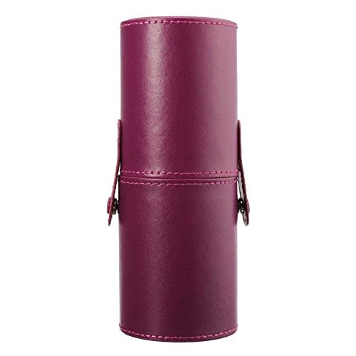 Fashionclubs Leather Professional Cosmetics Brushes/Pen/Pencil Cup Travel Makeup Organizer Holder Case (purple)
