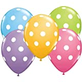 12 Polka Dot Balloons Bright Festive Colors Party Blue Green Pink and Lavender
