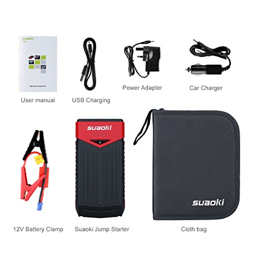 Suaoki T10 Car Jump Starter 400A Peak Current with Jump Leads as 12000mAh Battery Pack with Dual USB Port and LED Flashlight