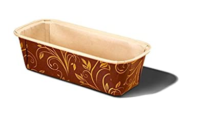 Plumpy Large Paper Baking Loaf Pan Good For All Of The Plumpy Loaf Cake, Banana Cake, Seed Bread Color BROWN & GOLD Model 8019962BGO