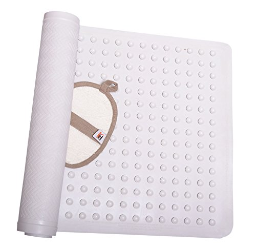 Non Slip Bath Mat Anti-Bacterial Deluxe Shower Mat 16 X 28 inches Fits Any Size Bath Tub White (Mat For Tub compare prices)