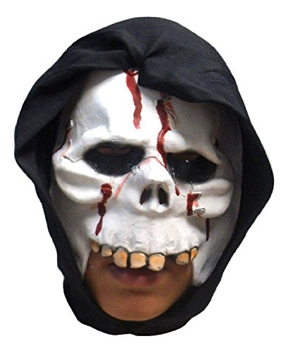 Hooded Skull Latex Mask - 1