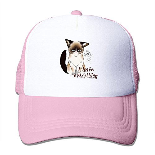 Grumpy Cat Hate Everything NO Trucker Mesh Cap Pink