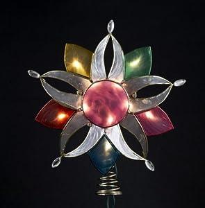 "10"" Lighted Capiz Shell Multi-Color Flower Christmas Tree Topper - Clear Lights"