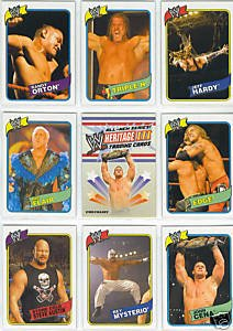 2007 Topps Heritage III- WWE Wrestling Trading Card Set- 90 Card Hand Collated set features WWE Superstars past and Present including HHH, John Cena, Ric Flair, Undertaker, Stone Cold Austin, Randy Orton, WWE Divas and Many More Superstars! Each Set Ships in Acrylic Case