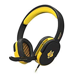 Bingle G830YL Stereo Computer Gaming Headphone Comfort Headband Headset with Dual 3.5mm In-line Volume Control + Noise Cancelling Deep Bass Mic for Online PC Laptop Notebook E-sports Game(Yellow)