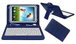ACM PREMIUM USB KEYBOARD TABLET CASE HOLDER COVER FOR AMBRANE A3-7 PLUS With Free MICRO USB OTG - BLUE