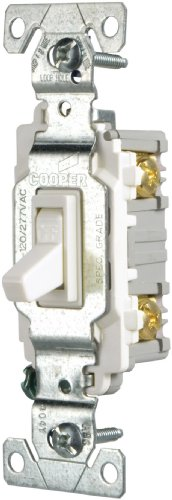Cooper Wiring Devices CSB115STW-SP-L 15-Amp, 120/277-Volt/AC Commercial Specification Grade Single Pole AC Toggle Switch, White