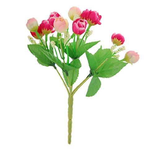 8 Altura fucsia Bud Green Leaf artificiales ramo de flores