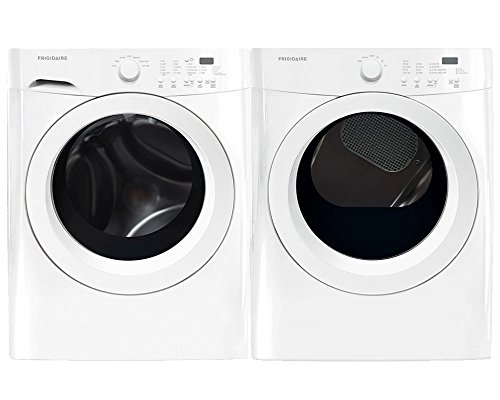 "Frigidaire White Front Load Laundry Pair with FFFW5000QW 27"" Washer and FFQE5000QW 27"" Electric Dryer in White"
