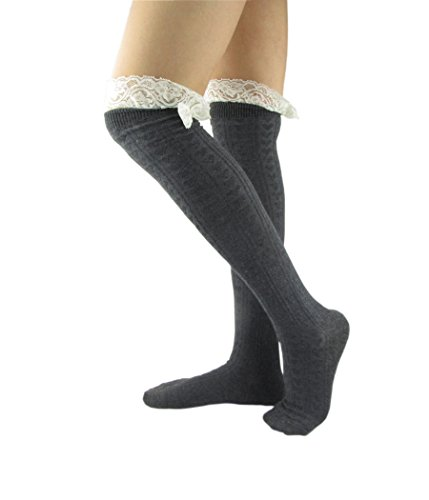 NOVAWO® Women's Crochet Lace Knee High Socks Boot Socks with Bow