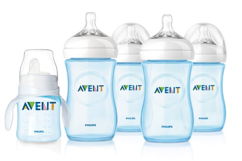 Philips Avent Blue Natural 4Pk Bottles 9Oz W/ Blue Trainer Cup