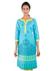 Scuba Blue Printed Cotton Kurta From ESTYLe
