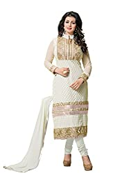 Kimisha Women's Georgette Karachi Embroidered Dress Material (KTARZAN06 White)