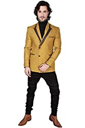 DheerajSharma Mustard Yellow Jute Blazer-XL