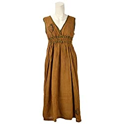 Beautiful Clothes Mustard Party Dress Cotton Dress For Women (BCA2060)