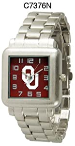 NCAA Officially Licensed Oklahoma Sooners Mens Metal Square-faced Wristband Watch