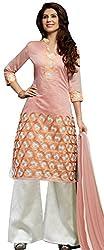 Nikki Fab Orange Chanderi Unstitched Dress Materials
