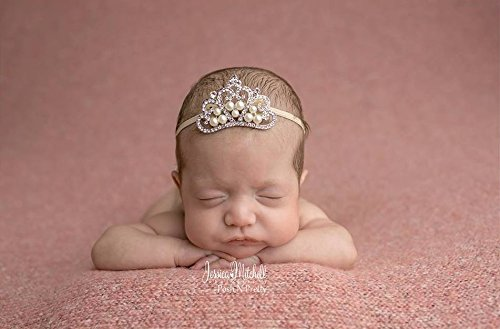 Large Crystal Pearl Tiara Slider Baby Headband, Girl, Toddler, Wedding, Photography