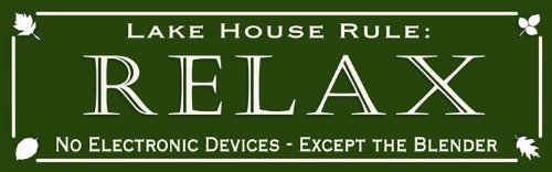 5x16 Lake House Rules Relax No Electronic Devices - Except the Blender