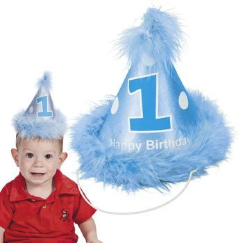 Boy's Blue First 1st One Birthday Cone Hat - 1