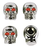41sMr4RF7JL. SL160  Skull Tire Valve Caps   Chrome Finish   Set of Four