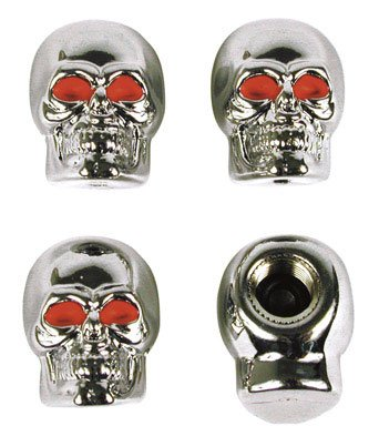 Custom Accessories 16220 Chrome Skull Style Tire Valve Caps, Card/4